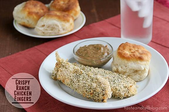 Crispy Ranch Chicken Fingers with Ranch BBQ Dipping Sauce | www.tasteandtellblog.com #recipe #chicken