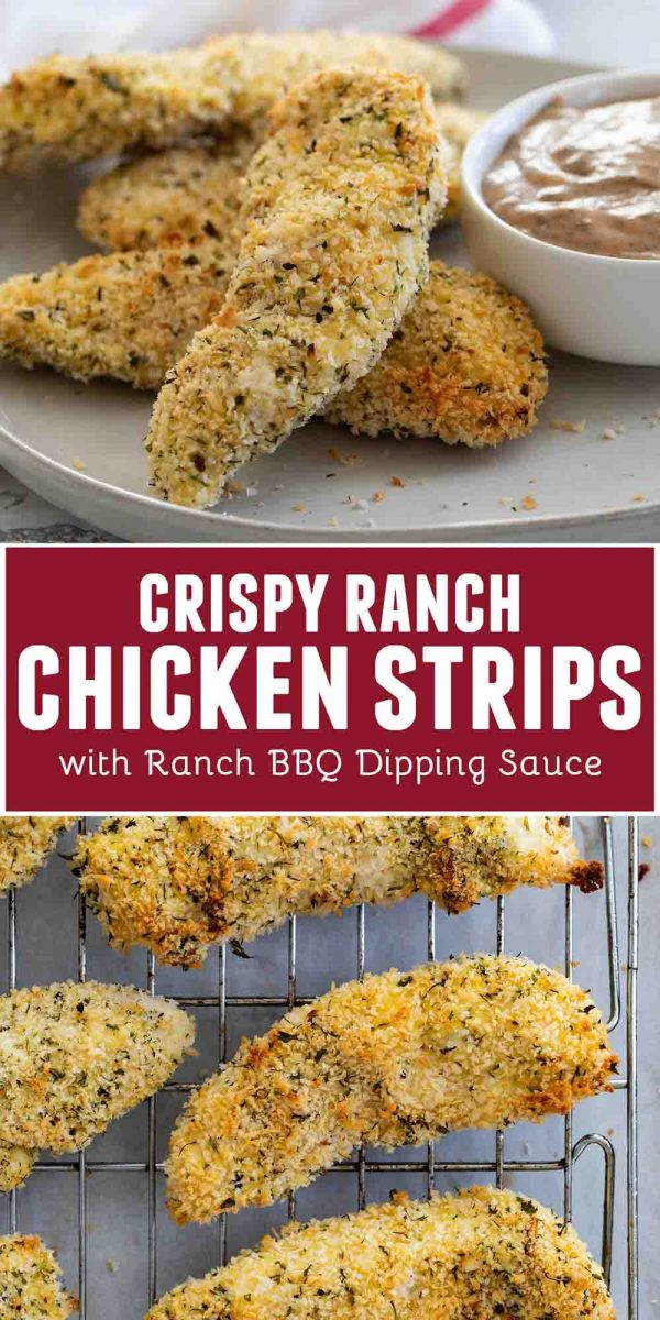 Crispy Ranch Chicken Strips with Ranch BBQ Dipping Sauce