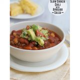 Easy Slow Cooker Chili with Avocado Salsa