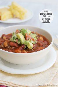 Easy Slow Cooker Chili with Avocado Salsa   www.tasteandtellblog.com