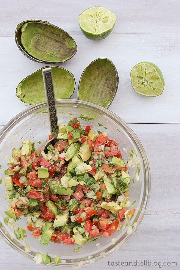 Easy Slow Cooker Chili with Avocado Salsa | www.tasteandtellblog.com