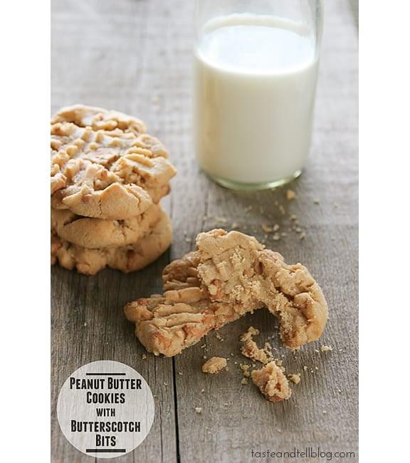 Peanut Butter Cookies with Butterscotch Bits | www.tasteandtellblog.com