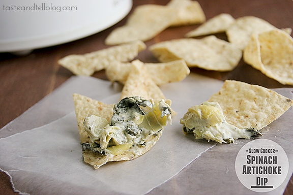 Slow Cooker Spinach Artichoke Dip | www.tasteandtellblog.com #recipe #appetizer #slowcooker