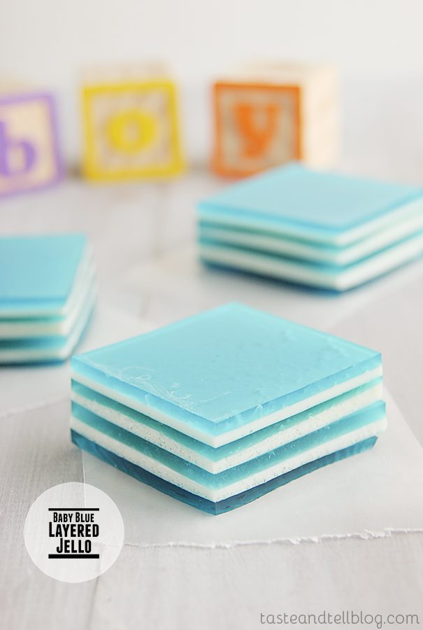 Baby Blue Layered Jello on Taste and Tell