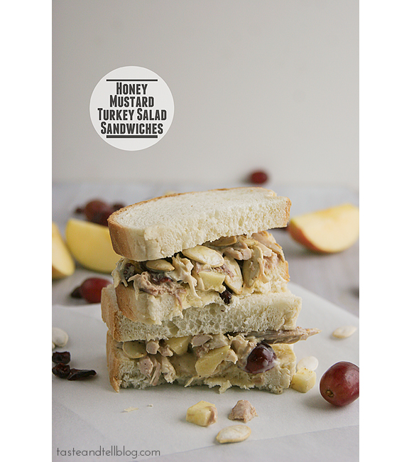 Honey Mustard Turkey Salad Sandwiches | www.tasteandtellblog.com