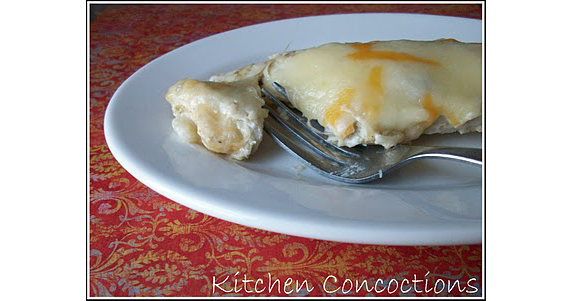 Leftover Turkey Creamy Enchiladas | recipe at http://www.kitchen-concoctions.com/2010/11/i-try.html