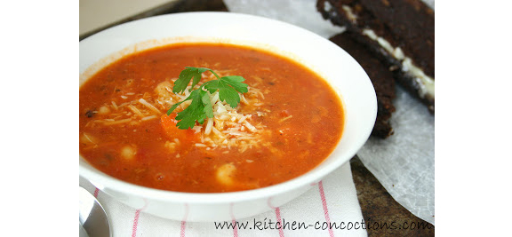 Spicy Tomato and Turkey Soup from www.kitchen-concoctions.com