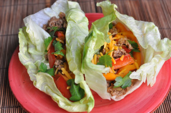 Turkey Lettuce Wrap Tacos from http://www.nutritiouseats.com