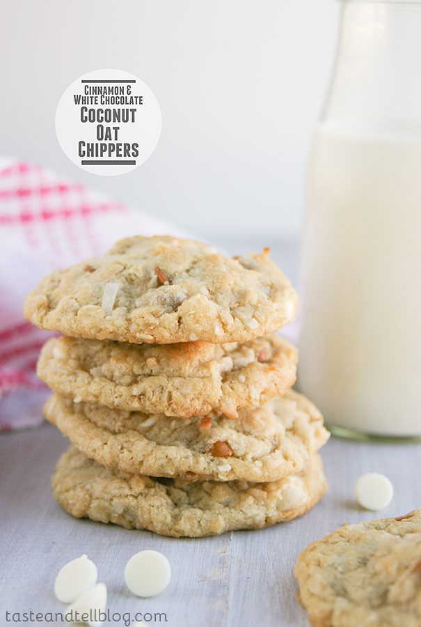 Cinnamon and White Chocolate Coconut-Oat Chippers {The Picky Palate Cookbook Review}