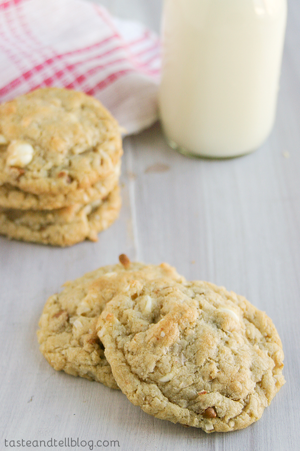 Cinnamon and White Chocolate Coconut Oat Chippers   Taste and Tell