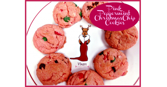 Pink Peppermint Christmas Chip Cookies from Tumbleweed Contessa