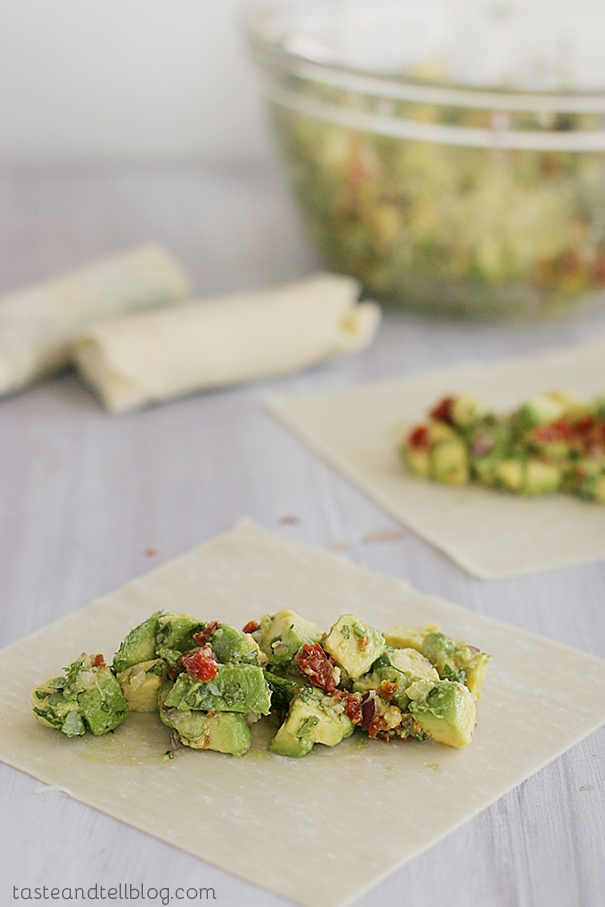 Avocado Egg Rolls with Chipotle Ranch Dipping Sauce   www.tasteandtellblog.com