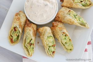 Avocado Egg Rolls with Chipotle Ranch Dipping Sauce | www.tasteandtellblog.com