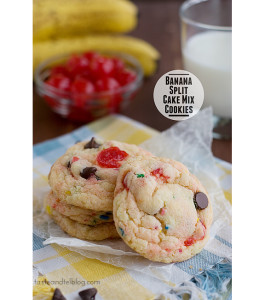 Banana Split Cake Mix Cookies | www.tasteandtellblog.com #recipe #cookie #cakemix