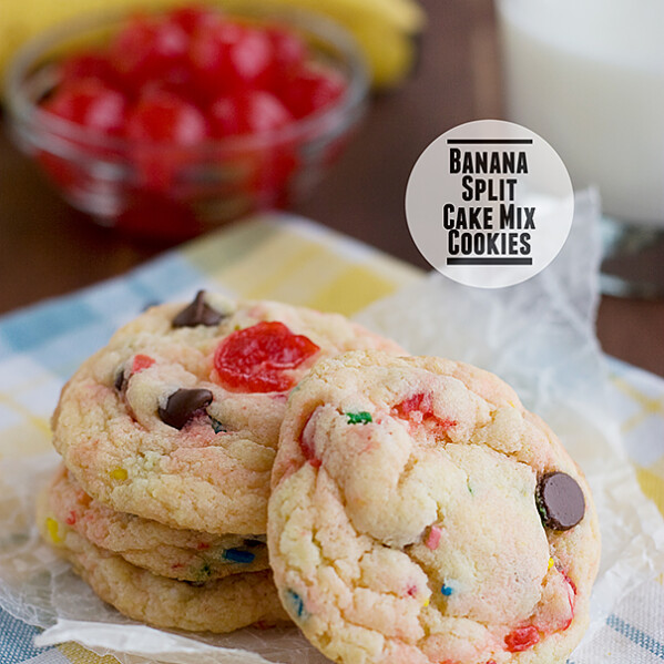 Banana Split Cake Mix Cookies | www.tasteandtellblog.com