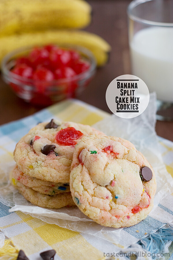 Banana Split Cake Mix Cookies | www.tasteandtellblog.com