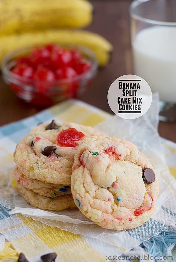 Banana Split Cake Mix Cookies {Taste and Tell Thursdays}