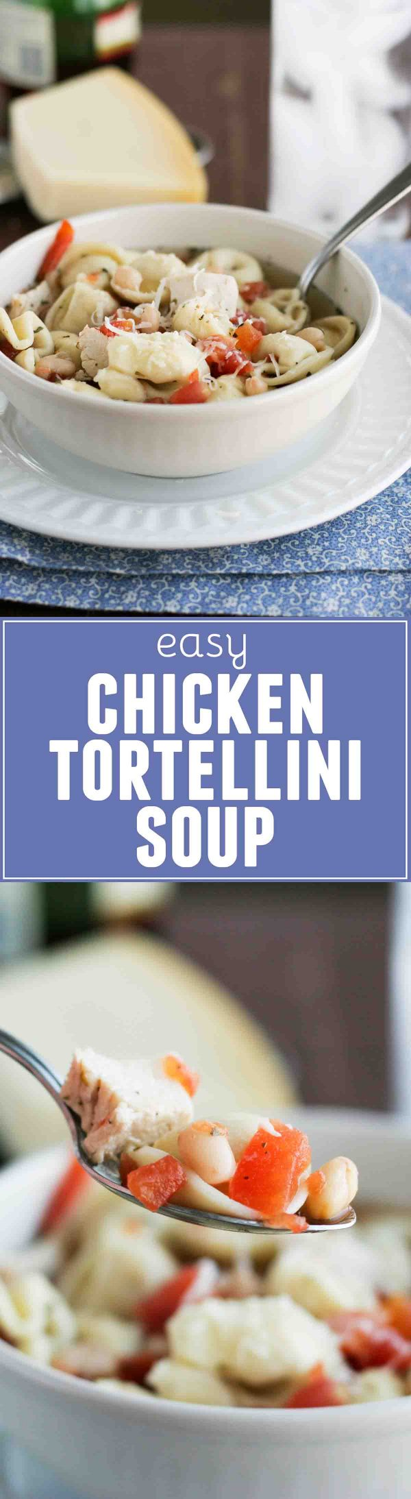 Perfect for a cold night, this Easy Chicken Tortellini Soup is filled with chicken, beans and tortellini, and is done in no time!
