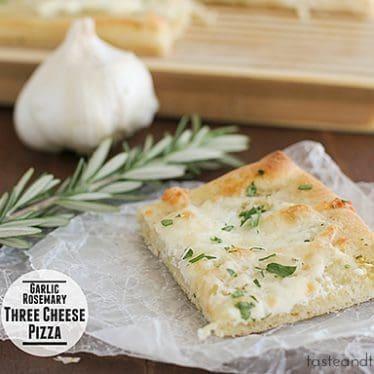 Garlic Rosemary Three Cheese Pizza | www.tasteandtellblog.com #recipe #pizza
