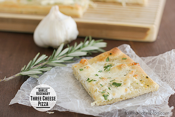Garlic Rosemary Three Cheese Pizza | www.tasteandtellblog.com #recipe #pizza