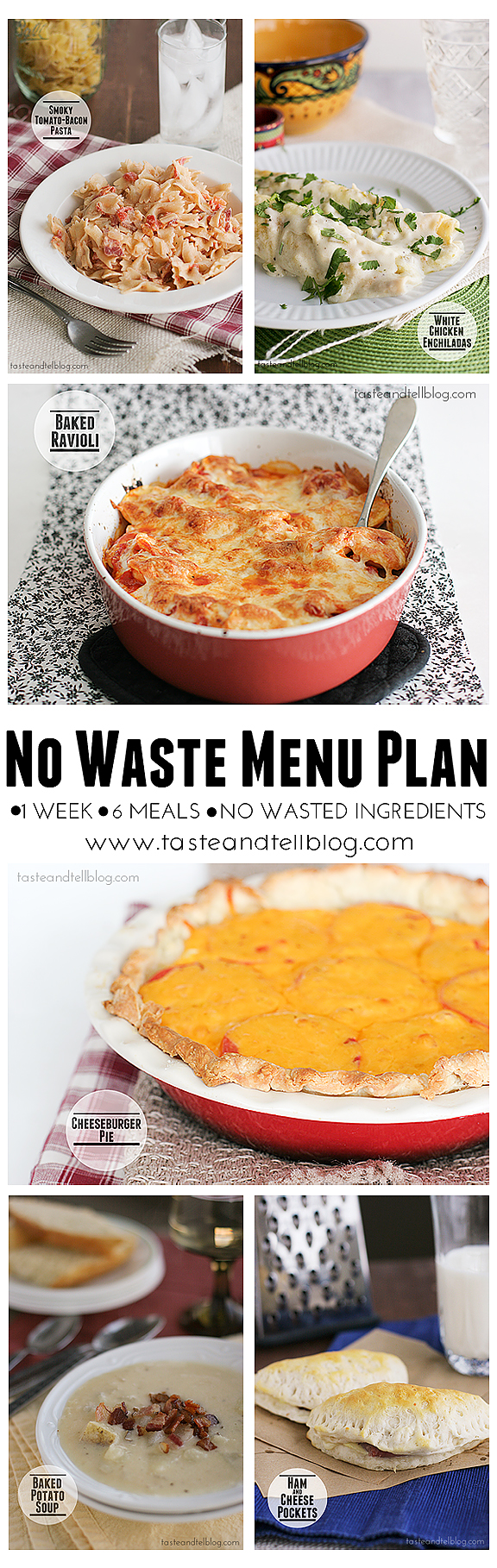 No Waste Menu Plan - 1 week, 6 recipes, no leftover ingredients | www.tasteandtellblog.com #menuplan #recipe #grocerylist