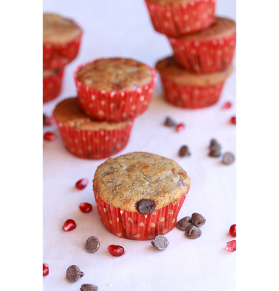 Pomegrante Chocolate Chip Muffins from Half Baked Harvest