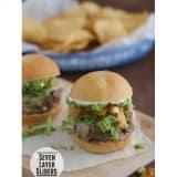 Seven Layer Sliders | www.tasteandtellblog.com #recipe #burger #slider
