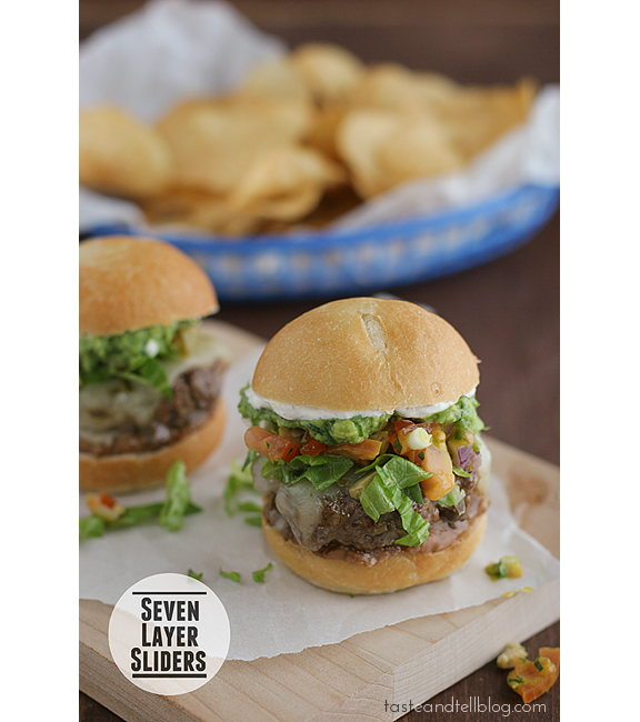 Seven Layer Sliders | www.tasteandtellblog.com #recipe #burger #slider