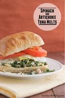 Spinach and Artichoke Tuna Melts   www.tasteandtellblog.com