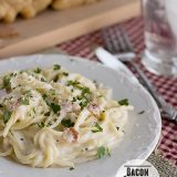 A decadent dinner idea, this Bacon Alfredo Pasta would be the perfect meal for a special night in.