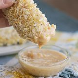 Coconut Chicken Tenders with Creamy Mango Chutney | www.tasteandtellblog.com #recipe #chicken