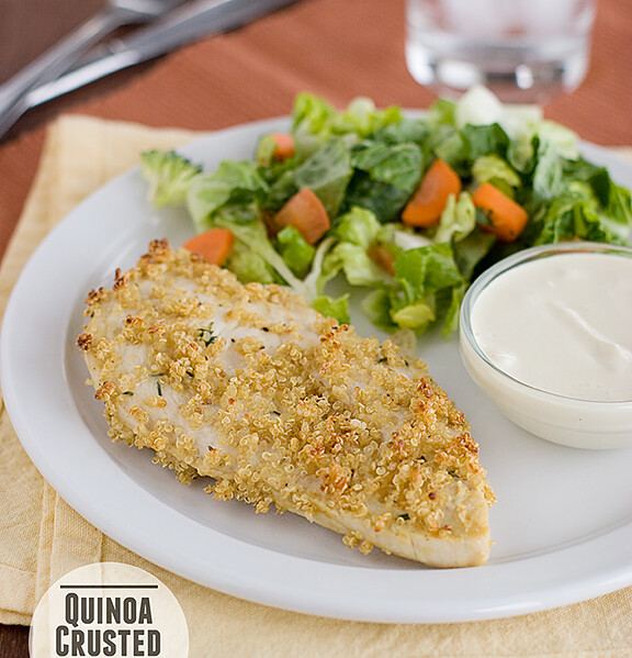 Quinoa Crusted Chicken with Skinny Honey Mustard