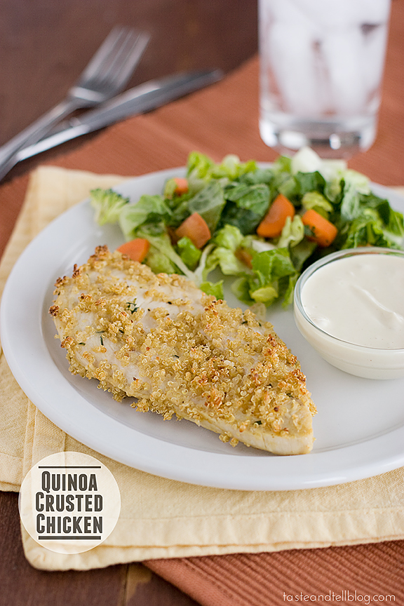 Quinoa Crusted Chicken with Skinny Honey Mustard {Fridays with Rachael Ray}