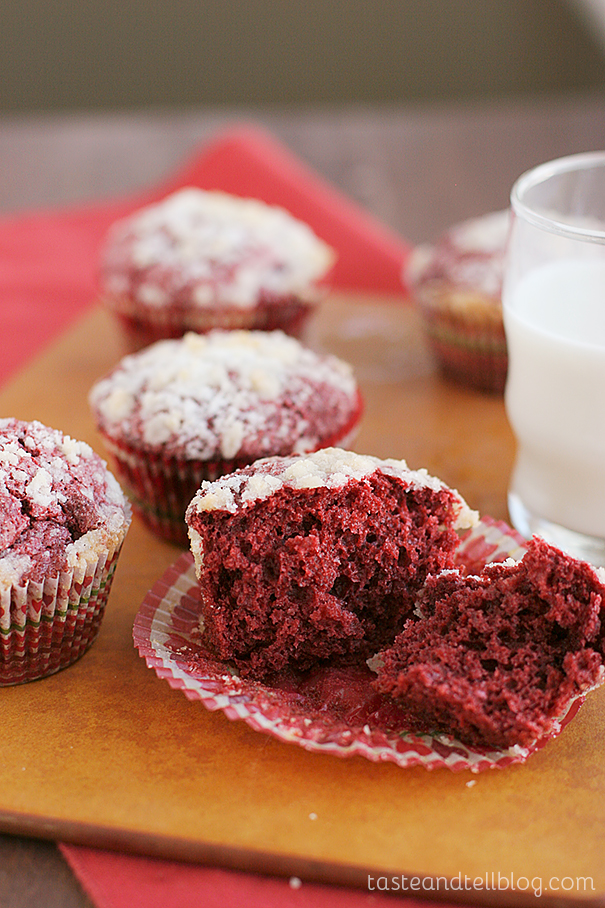 Red Velvet Cream Cheese Muffins {Red Velvet Week} - Taste and Tell