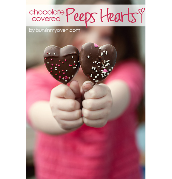 Chocolate Covered Peeps Hearts from Buns in My Oven