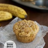 Banana Brickle Muffins | www.tasteandtellblog.com #recipe #banana #muffin