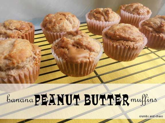 Banana Peanut Butter Muffins from Crumbs and Chaos