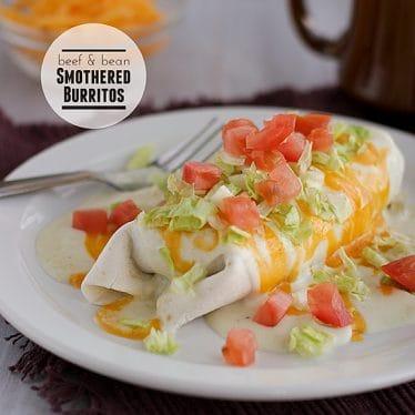 Beef and Bean Smothered Burritos | www.tasteandtellblog.com #recipe