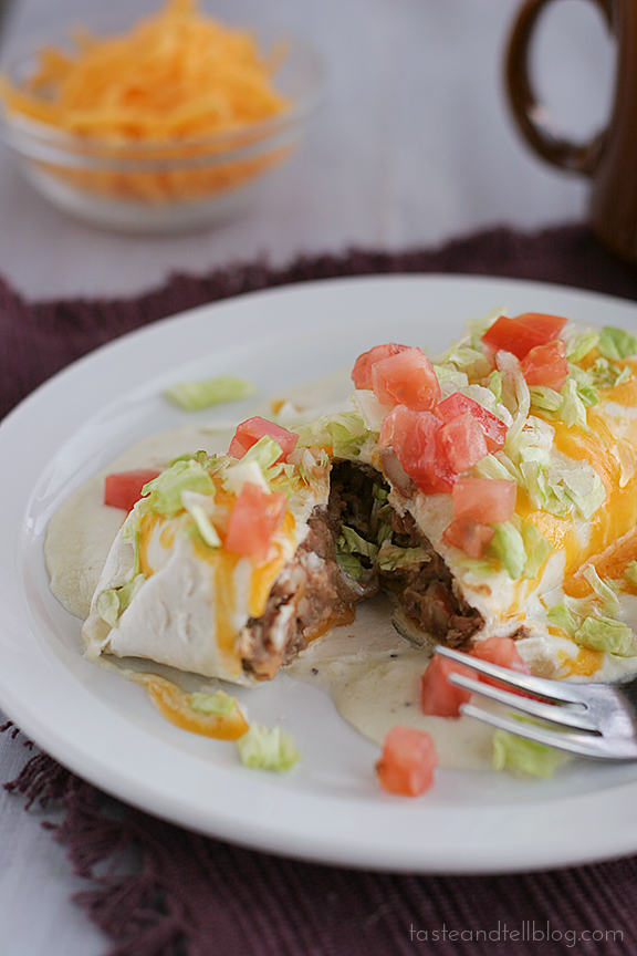 Beef and Bean Smothered Burritos | www.tasteandtellblog.com #recipe