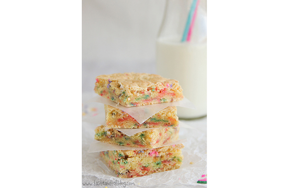 Cake Batter Blondies | Taste and Tell