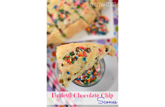 Funfetti Chocolate Chip Scones | Crazy for Crust