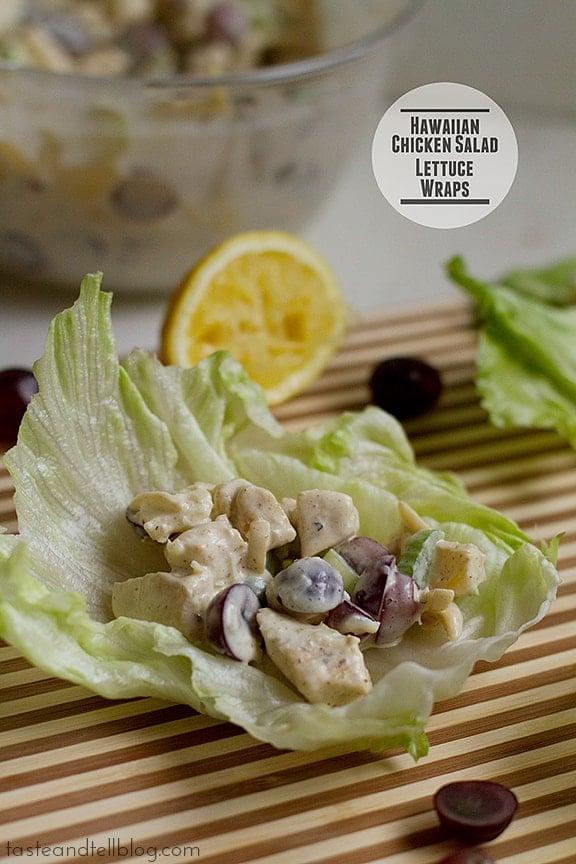 Hawaiian Chicken Salad Lettuce Wraps | www.tasteandtellblog.com