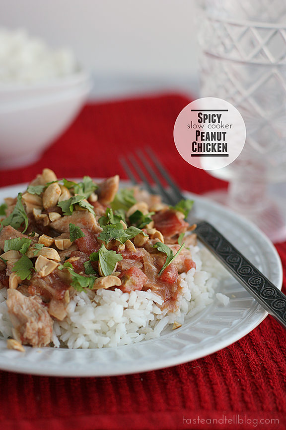 Spicy Slow Cooker Peanut Chicken | www.tasteandtellblog.com #recipe #slowcooker #chicken