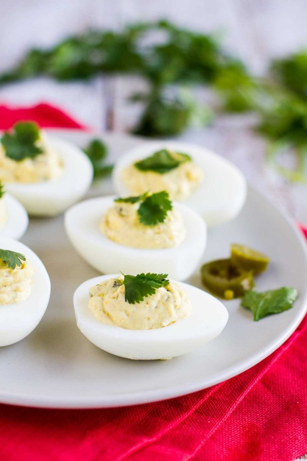 Spicy Deviled Eggs on a plate