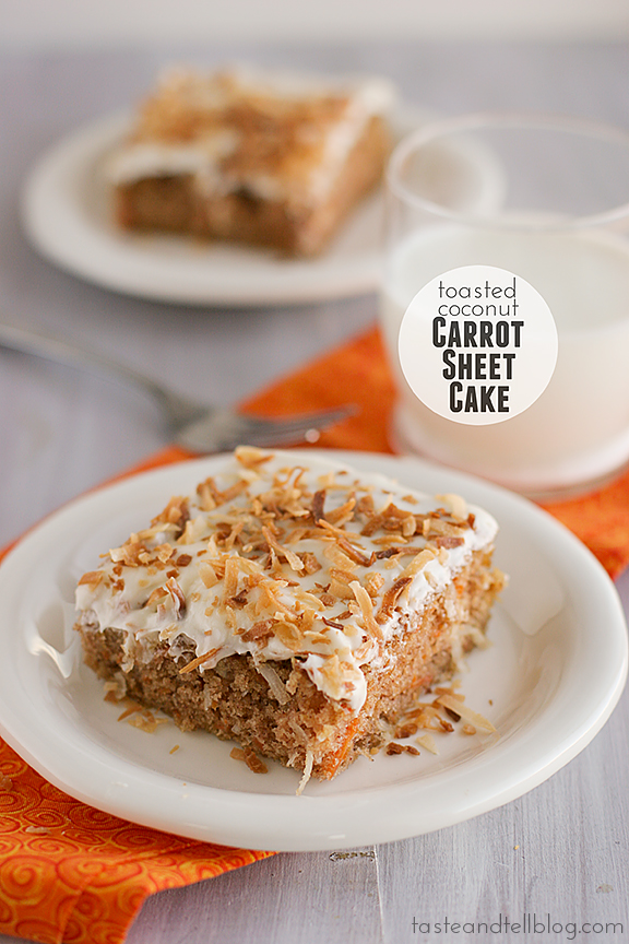 Toasted Coconut Carrot Sheet Cake | www.tasteandtellblog.com #recipe #Easter