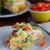 With layers of flavor, this easy to assemble Chicken Tortilla Stack is great for a weeknight meal, or even for company.