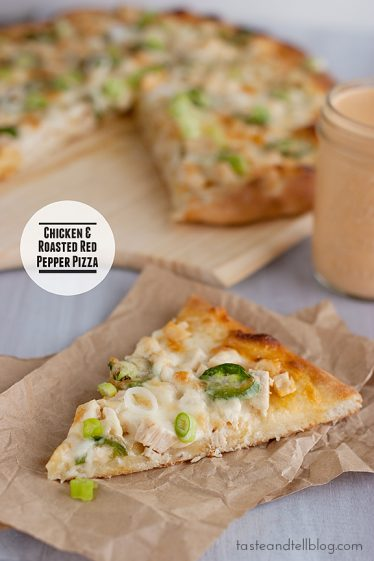Chicken and Roasted Red Pepper Pizza | www.tasteandtellblog.com