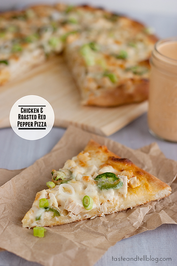 Chicken and Roasted Red Pepper Pizza {giveaway}