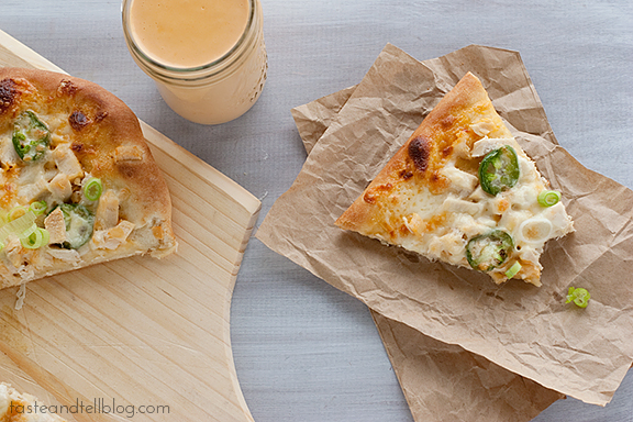 Chicken and Roasted Red Pepper Pizza   www.tasteandtellblog.com