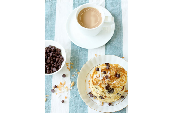 Chocolate Chip Coconut Pancakes from Beela Bakes